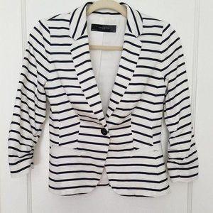 The Limited White Pinstriped Cotton Blazer, XS